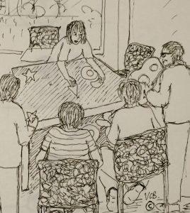 """5 septembre © Reunion Amelire Brigitte expose son tapis de lecture """"Petit monstre vert """""""